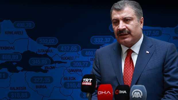 Son dakika haber… Sağlık Bakanı Fahrettin Koca, illere göre haftalık corona vaka sayısı haritasını paylaştı
