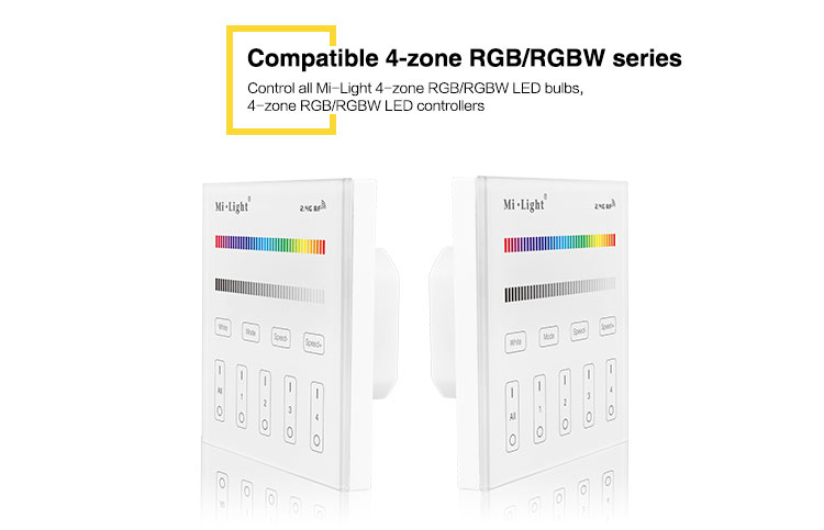 T3 4-Zone RGB/RGBW Smart Panel Remote Controller For RGB