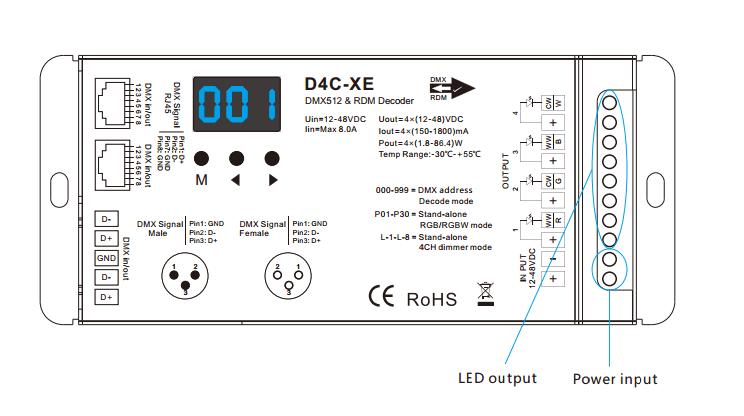DC12-48V 4CH 8A Constant Current DMX512 & RDM Decoder D4C