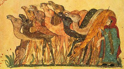Desert woman with herd of camels from the 13th century Syrian Maqamat of al-Hariri