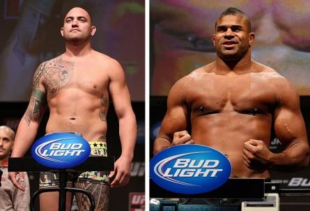 T. Browne (esq.) e A. Overeem (dir.) devem se enfrentar em agosto. Foto: Produção MMA Press (Divulgação/UFC)