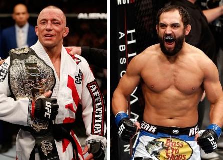 GSP (esq.) vai buscar sua nona defesa de título consecutiva contra J.Hendricks (dir.). Foto: Produção MMA Press (Divulgação/UFC)