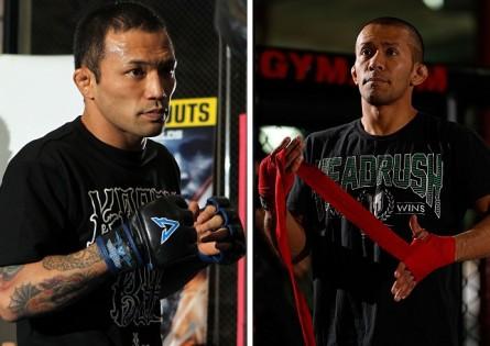 N.Yamamoto (esq.) e I.Menjivar (dir.) vão se enfrentar em Toronto. Foto: Produção MMA Press (UFC/Divulgação)