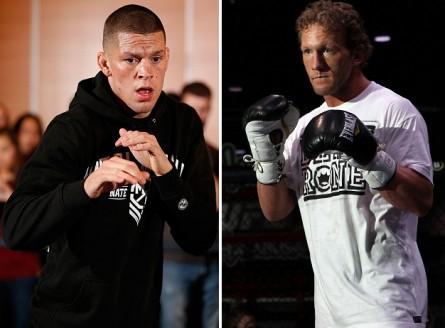 N. Diaz (esq.) encara G.Maynard (dir.) no dia 30 de novembro. Foto: Produção MMA Press (Josh Hedges/UFC)