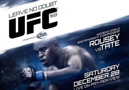 """Pôster do UFC 168 e o slogan """"para não deixar dúvidas"""".. Foto: UFC/Divulgação"""