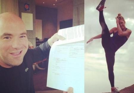 Foto divulgada mostra Dana White com o contrato e a nova contratada do UFC. Foto: Reprodução/Twitter