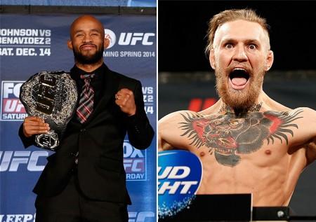 Johnson (esq.) e McGregor (dir.), os maiores salários do UFC 178. Foto: Produção SUPER LUTAS (Divulgação/UFC)