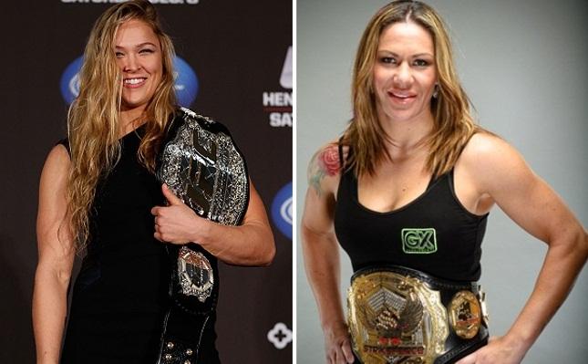 Ronda (esq.) e Cyborg (dir.) são apontadas como as principais lutadoras da atualidade. Foto: Produção SUPER LUTAS (UFC/Divulgação)