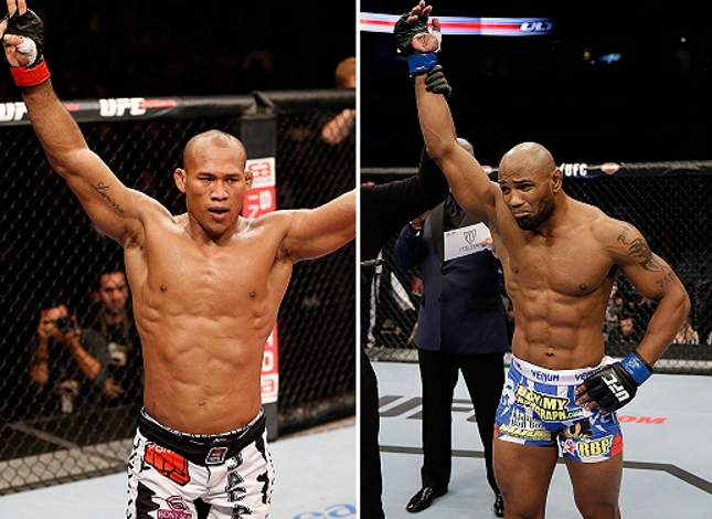 Luta entre R. Jacaré (esq.) e Yoel Romero (dir.) foi reagendada. Foto: Produção Super Lutas (Josh Hedges/UFC)