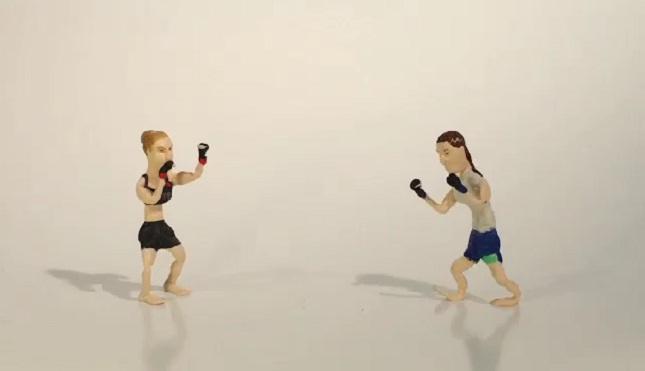 Ronda (esq.) e Zingano (dir.) em versão feita a partir de massa de modelar. Foto: Reprodução