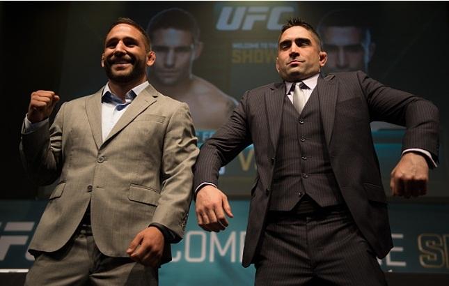 C. Mendes (esq.) e R. Lamas (dir.) fazem a luta principal do UFC Fairfax. Foto: Brandon Magnus/UFC