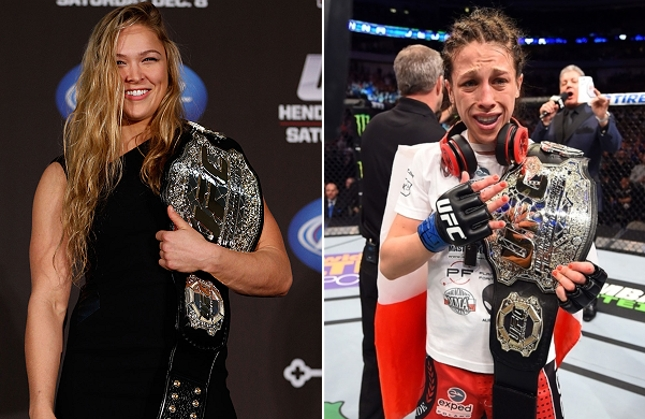 """Ronda (esq.) quer """"passar o bastão"""" para Joanna (dir.) em """"Velozes e Furiosos"""". Foto: Produção SUPER LUTAS (Josh Hedges/UFC)"""