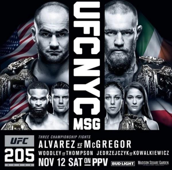 Pôster oficial do UFC 205, evento que acontecerá dia 12 de novembro, em Nova York. (Foto: UFC / Divulgação)