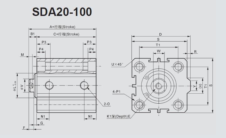 NingboSDA Series compact cylinder,SDA Series compact