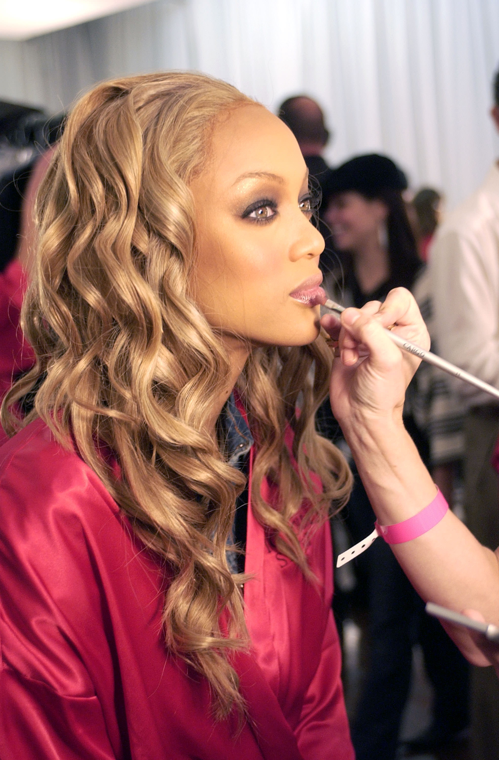 Tyra Banks during 9th Annual Victoria's Secret Fashion Show – Hair and Makeup at The New York State Armory in New York City, New York, United States.