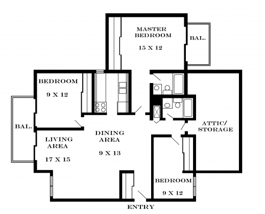 Fascinating 3 Bedroom Flat Floor Plan Small House Plans