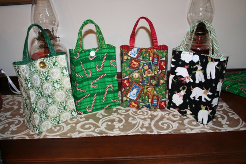 These are the four gift bags made using instructions from allpeoplequilt.com.