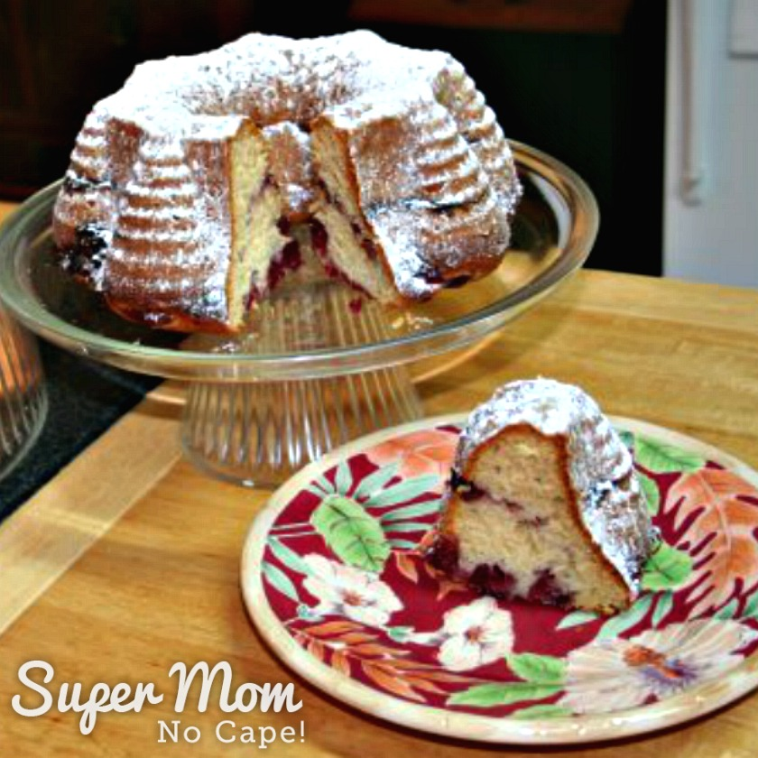 Cranberry Coffee Cake - Each slice is marbled with cranberry sauce