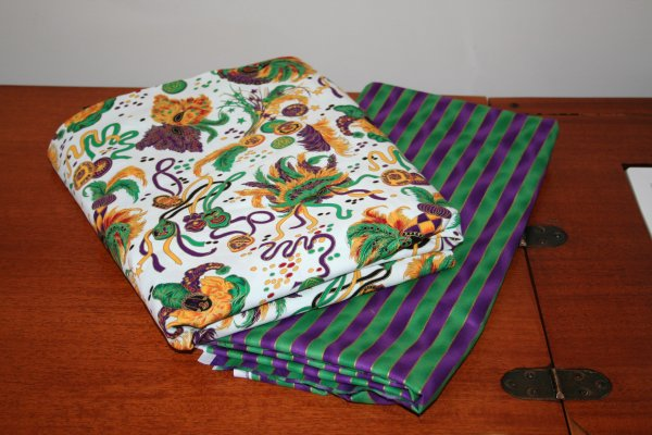 This Mardi Gras fabric will be making an appearance in a quilt (possibly both front and back.)