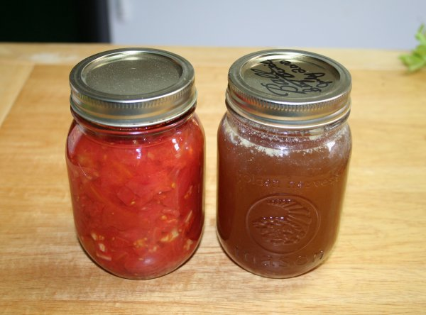 Pint Jar of Tomatoes and Beef Stock