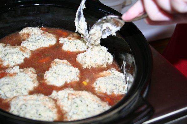 Spoon batter on top of stew