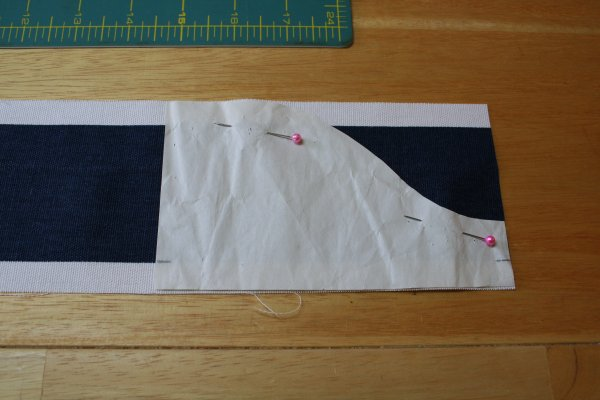 Pin to end of striped strip