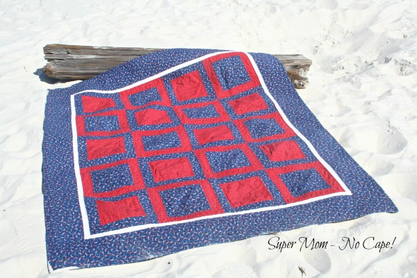 4th of July Picnic Quilt on a piece of driftwood
