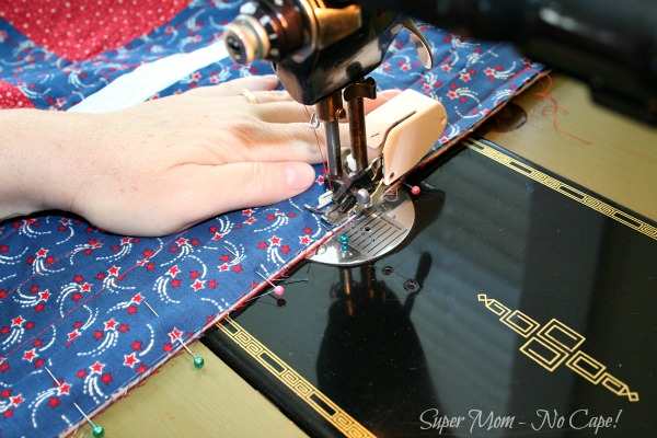 Sewing Binding on my 4th of July Picnic Quilt