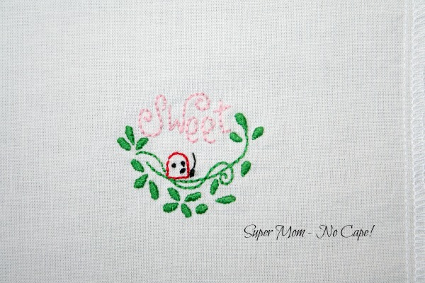 Ladybug stitchery for the inside of the needle wallet
