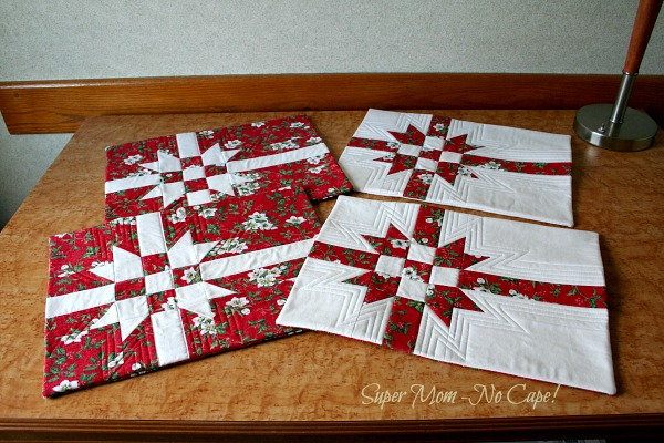 Photo of 4 Finished Gift Wrap Pillow Cover
