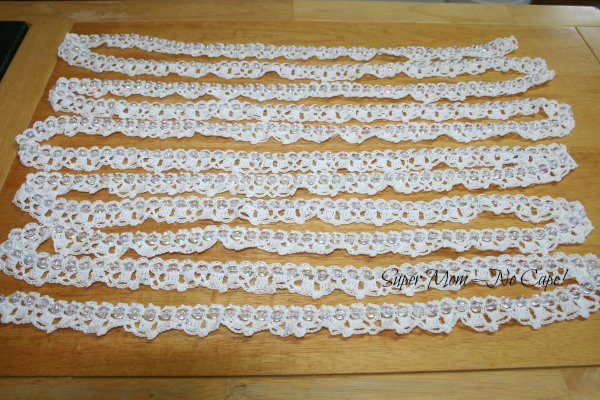 White Crocheted Beaded Garland
