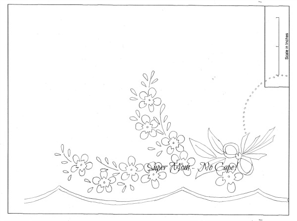 Vintage Workbasket left half of Floral Pillow Slip embroidery pattern from pattern page 80