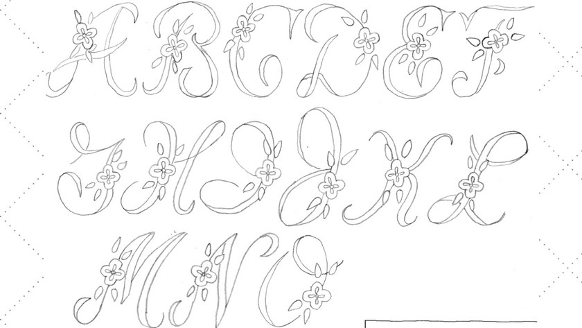 Vintage Embroidery Monday – 2″ Floral Alphabet A to O