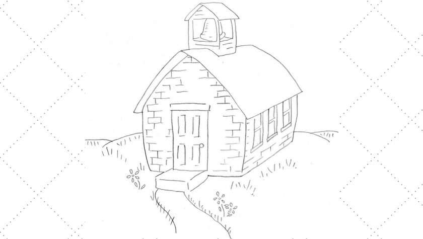 Old Fashioned One Room School House Embroidery Pattern