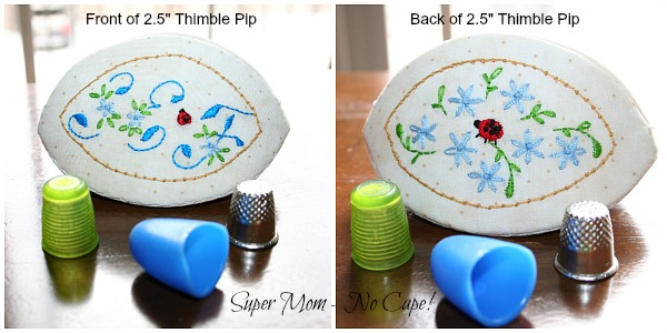 Front and back of 2.5 inch thimble pip