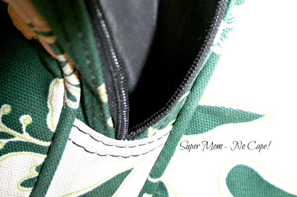 zipper in end pocket of duffle bag