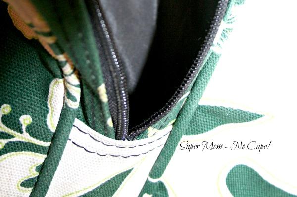 zipper in end pocket of duffle bag