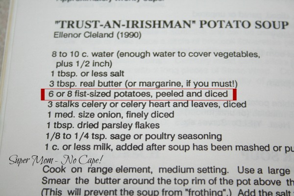 photo of the recipe for potato soup in Auburndale cookbook