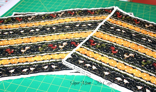 rooster placemats ready for binding