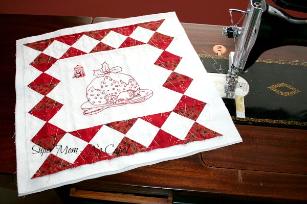 Christmas Mouse Wall Hanging hand-basted ready to quilt.