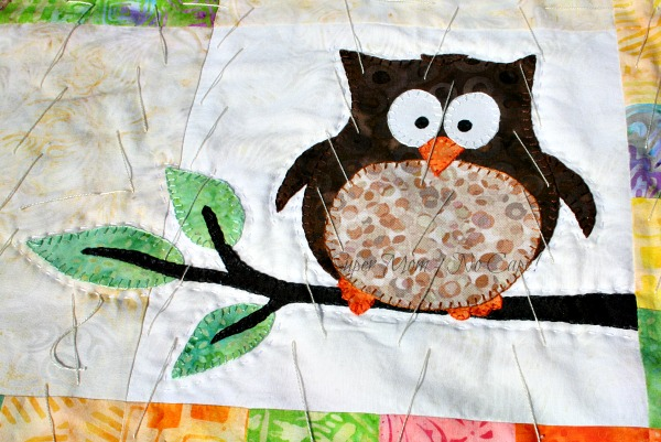 Appliqued Owl with Hand Quilting with #8 perle cotton
