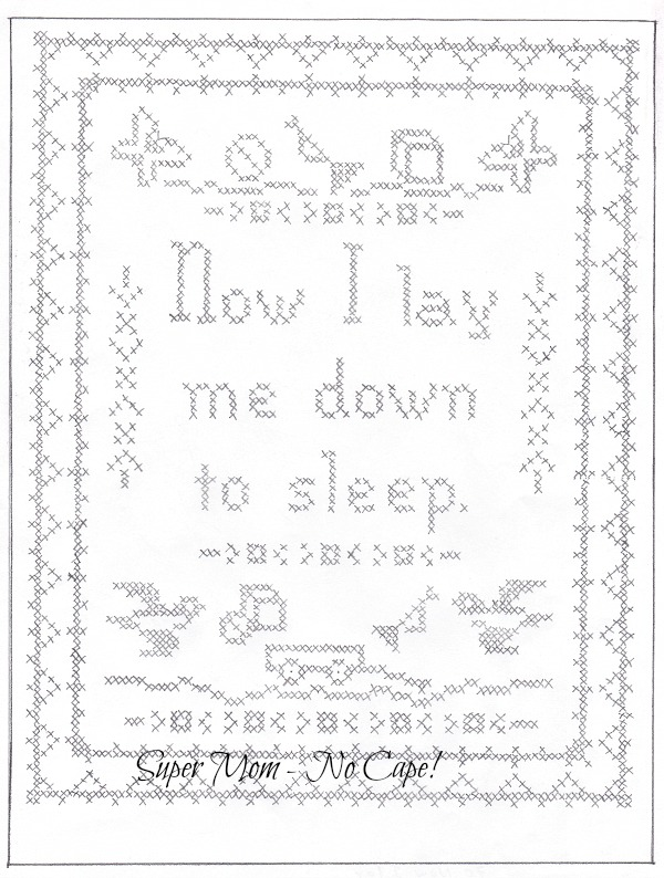 Now I Lay Me Down to Sleep vintage Workbasket embroidery pattern from page #70