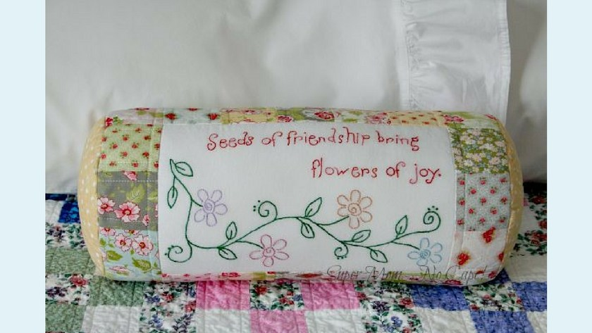Seeds of Friendship Bolster Cover Finished