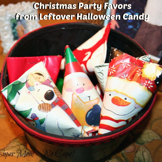Christmas Party Favors from Leftover Halloween Candy