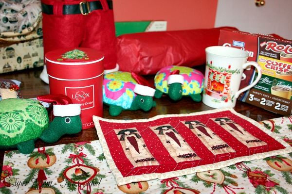 Gifts that were wrapped in the pretty Christmas fabric