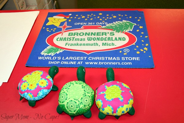 Hexie Turtles on the counter at Bronner's Christmas Wonderland