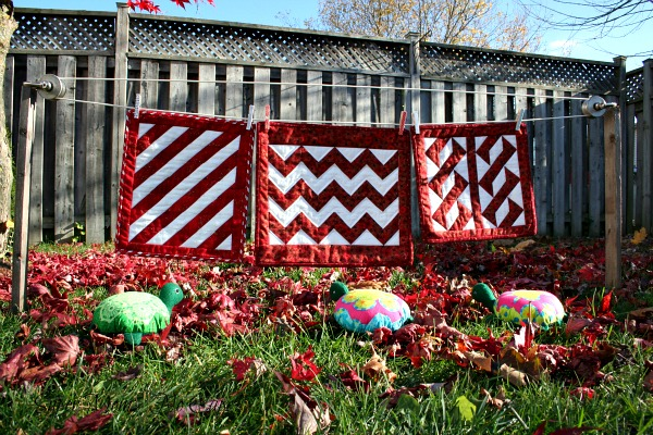 The turtles' quilts hanging on the line