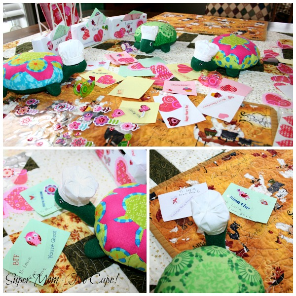 Photo Collage of the Hexie Turtle making Valentine's cards