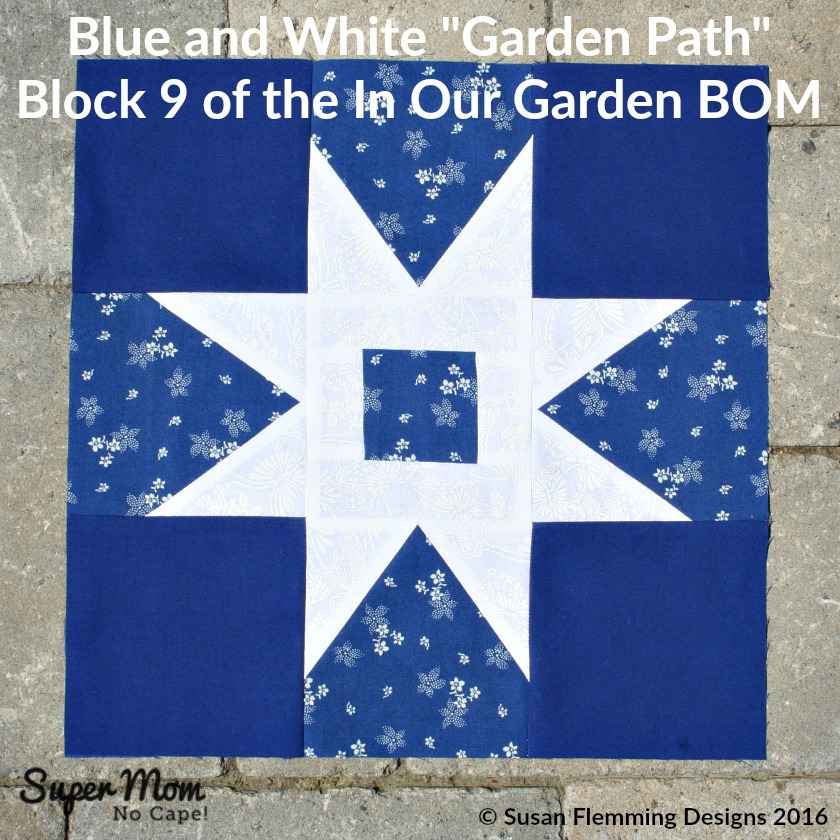 Blue and White Garden Path - Block 9 of the In Our Garden BOM