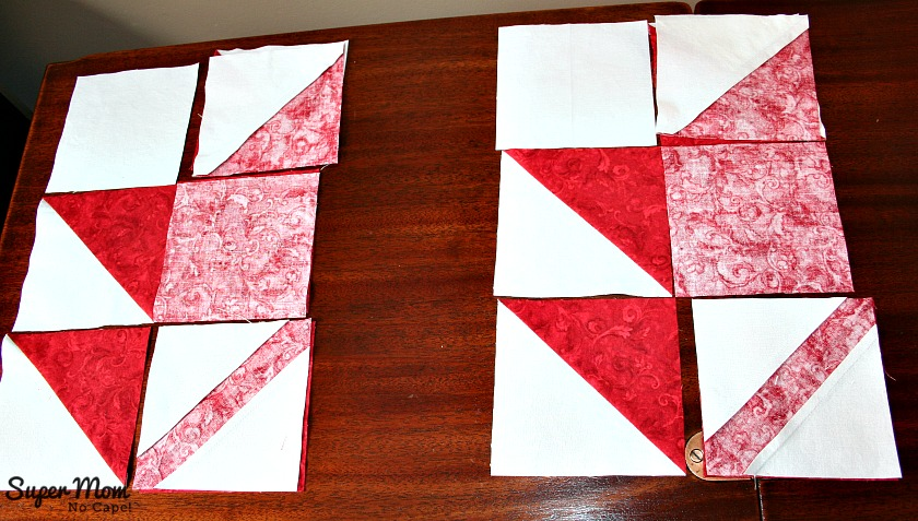 Maple Leaf Blocks - Step 7A Flip the row on the right onto the middle row and sew